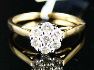 10K YELLOW GOLD DIAMOND FLOWER ENGAGEMENT RING 1/3 CT