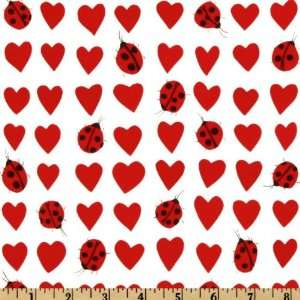 44 Wide Nicoles Prints Ladybug Love Red/White Fabric By