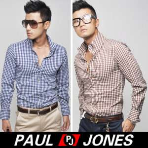 PJ2011 Mens Cotton Dress Shirts Checkered Handsome One