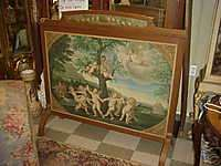 ANTIQUE CHERUB PAINTING FIRE SCREEN ART NOUVEAU