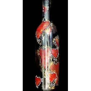 Hearts of Fire Design   Hand Painted   Wine Bottle with