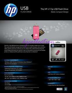 HP 16GB 16G USB Flash Pen Drive Memory Stick PINK v115p