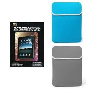 2X Ipad Blue & Gray Premium Neoprene Cover For Apple iPad + 2
