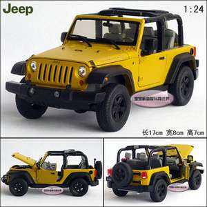 New JEEP Rubicon Open 124 Alloy Diecast Model Car With Box Yellow