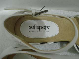 Softspots Lenore White Leather Ankle Strap Sandals 8.5 M