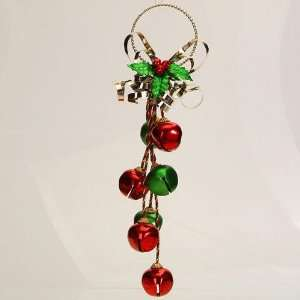 Green and Gold Metal Jingle Bell Christmas Door Hanger