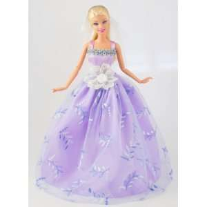 Light Purple Gown Dress with Big White Lace Applique