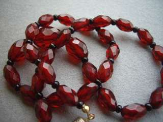 Wonderful Vintage Art Deco Faceted Cherry Amber? Necklace   17
