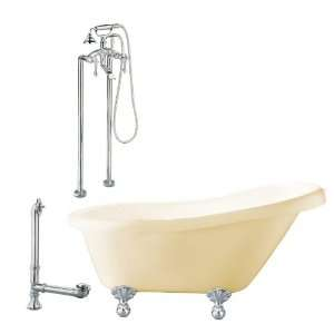 Giagni 60L x 30 1/3W Bisque/Polished Chrome Clawfoot Tub LH2 PC B