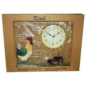 Kirch 24 Tin Hand Painted Rooster Scene Wall Clock
