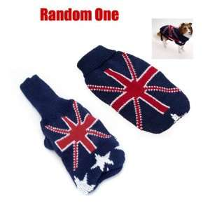 Dog Sweater Clothes w/ UK Flag Pattern   Size XS