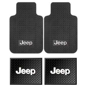 Jeep Logo Car Truck SUV Front & Rear Seat Rubber Floor