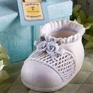 Ceramic Blue Baby Bootie Favors Baby