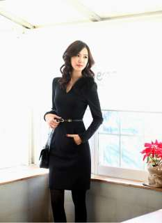 NWT lady autumn office slim fitted v neck long sleeve dress 3 colors