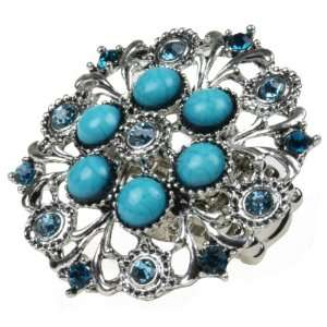 Silver Filigree with Light Blue Stones Stretch Bling Ring Jewelry