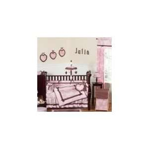 Pink and Brown Toile 9 Piece Crib Set   Baby Girls Bedding Baby