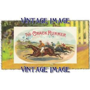 inch (14 x 10 cm) Gloss Stickers Horses The Crack Runner Vintage Image
