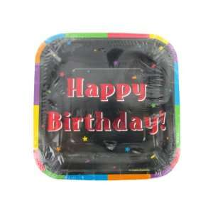 Bulk Pack of 48   Happy Birthday square plates, pack of 8