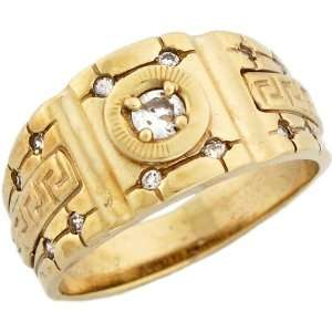 Yellow Gold Unique Mens CZ Ring with Greek Key Design on Band Jewelry