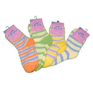 4 Pairs Ladies Warm Striped Fuzzy Socks Size 9 11