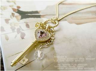 Fashion Jewelry Violet Crystal Love Key Crown Necklace Sweater Chain
