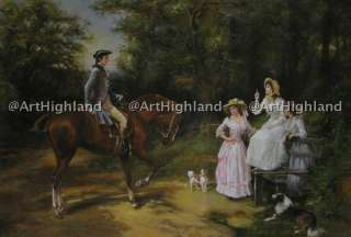 Vintage Portrait Oil Painting on Canvas Knight on Horse