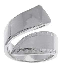Sterling Silver Diamond Cut Wrap Around Ring