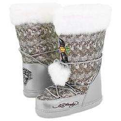 Ed Hardy Big Bear Boots Faux Fur Silver Boots