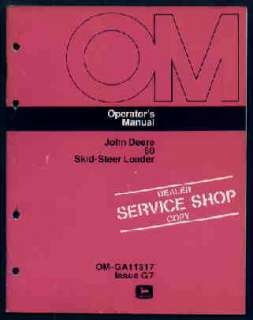 John Deere 60 Skid Steer Loader Operators Manual 1977