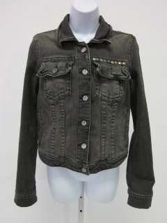 FREE PEOPLE Gray Studded Heart Buttoned Denim Jacket M