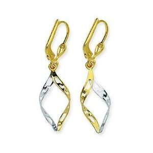 14kt Two Tone Gold Diamond Shape Twist Earrings Jewelry
