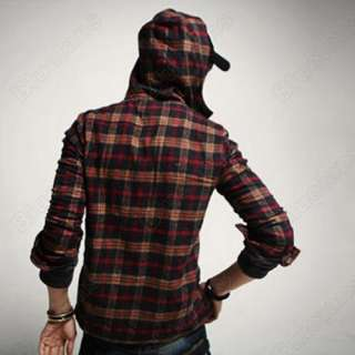 Korean Stylish Men Casual Check Slim Fit Dress Shirt Hoodie Hoody Hat