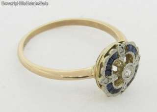 Antique Art Deco Diamonds Sapphires White & Yellow Gold Ring