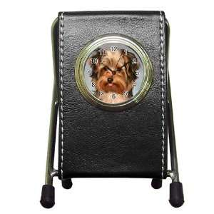 Yorkshire Terrier Puppy Dog 10 Pen Holder Desk Clock X0656
