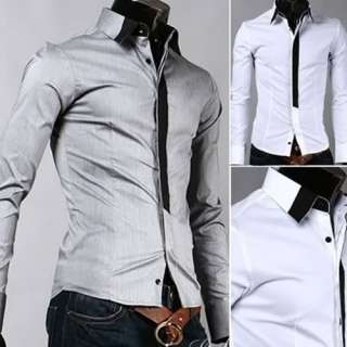 Casual Slim fit Stylish Dress Shirt M L XL XXL Gray White h186