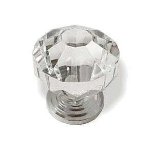 Diamond Cut Clear Acrylic Knob 1 1/4 Chrome Plated Base