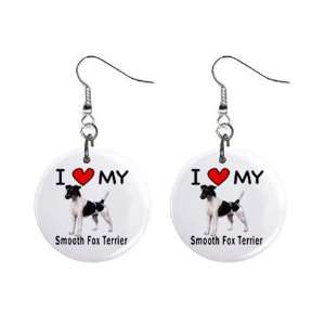 I Love My Smooth Fox Terrier Button Earrings Everything