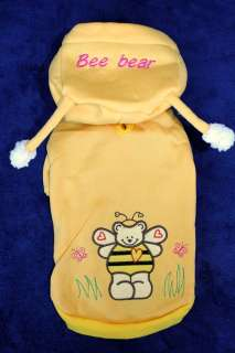 Dog Clothes Coat Hoodie BEE BEAR size XXS XS S M L