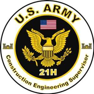 United States Army MOS 21H Construction Engineering Supervisor Decal