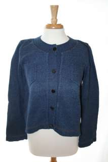 Cotton Cardigan Sweater w/ CC Buttons&Denim Like Stitching,Sz40