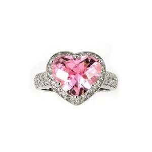 PINK CUBIC ZIRCONIA HEART RING, 6 Jewelry