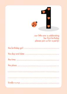Pack of 10 Childrens Birthday Party Invitations, 1 Year Old Girl