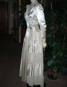 Vtg OFF WHITE IVORY Shiny SATIN Wedding Gown Dress LACE Ruched Bodice