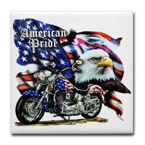 Tile Coaster (Set 4) American Pride US Flag Motorcycle and