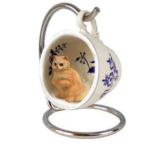 Red Persian Red Holiday Tea Cup Cat Ornament