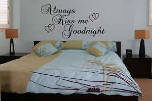 Always Kiss Me Goodnight Wall Quote Decal Vinyl Sticker Wall Art size