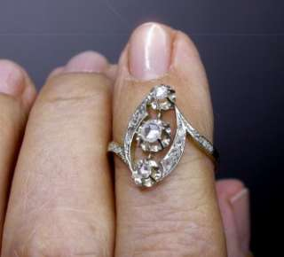 Antique Art Nouveau 18k Gold Double Rose Cut Diamond Engagement Ring 2