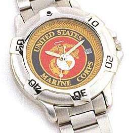 Marine Corps Quartz Watch w Date Mens Stainless Steel Band