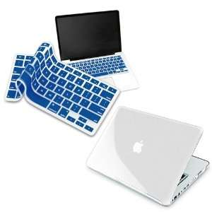 Dark Blue Keyboard Silicone Cover Skin + Clear Hard Shell Case