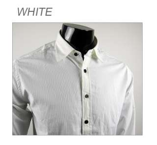 U1816 100% Cotto New Mens Casual Implicit strip Shirts Colour White
